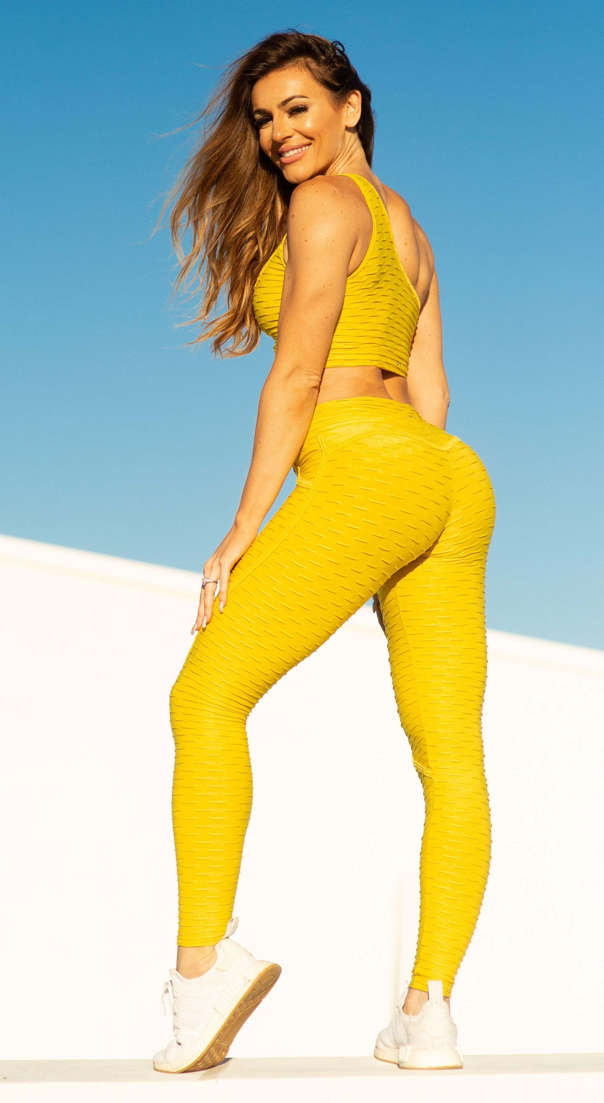 Anti Cellulite Textured Heart Booty Effect Yellow