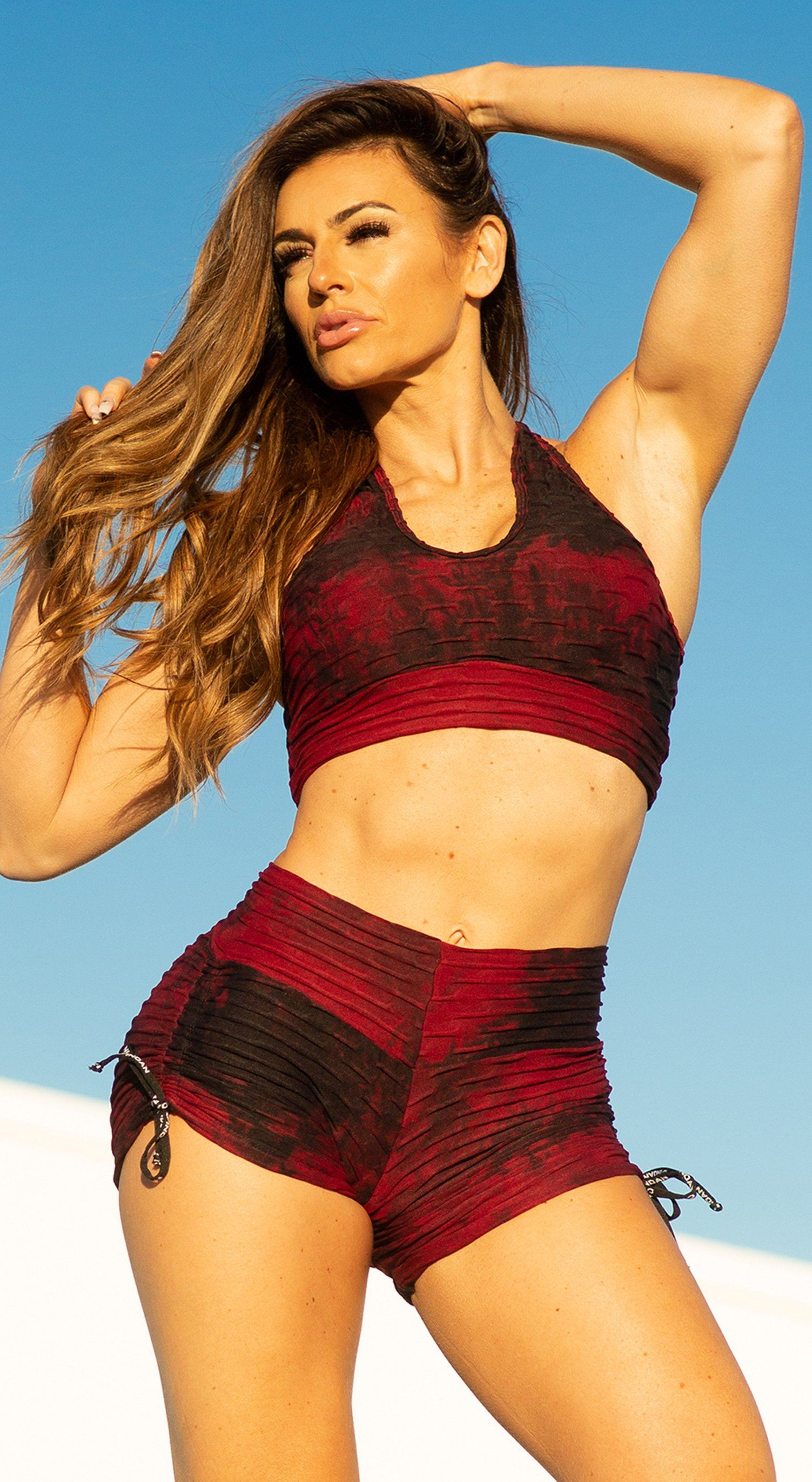 Brazilian Sports Bra - Textured Tie Dye Bordo & Black