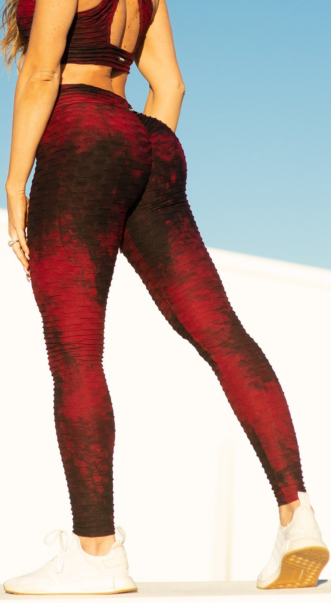 Brazilian Legging - High Waist Anti Cellulite Textured Scrunch Booty Tie Dye Bordo & Black