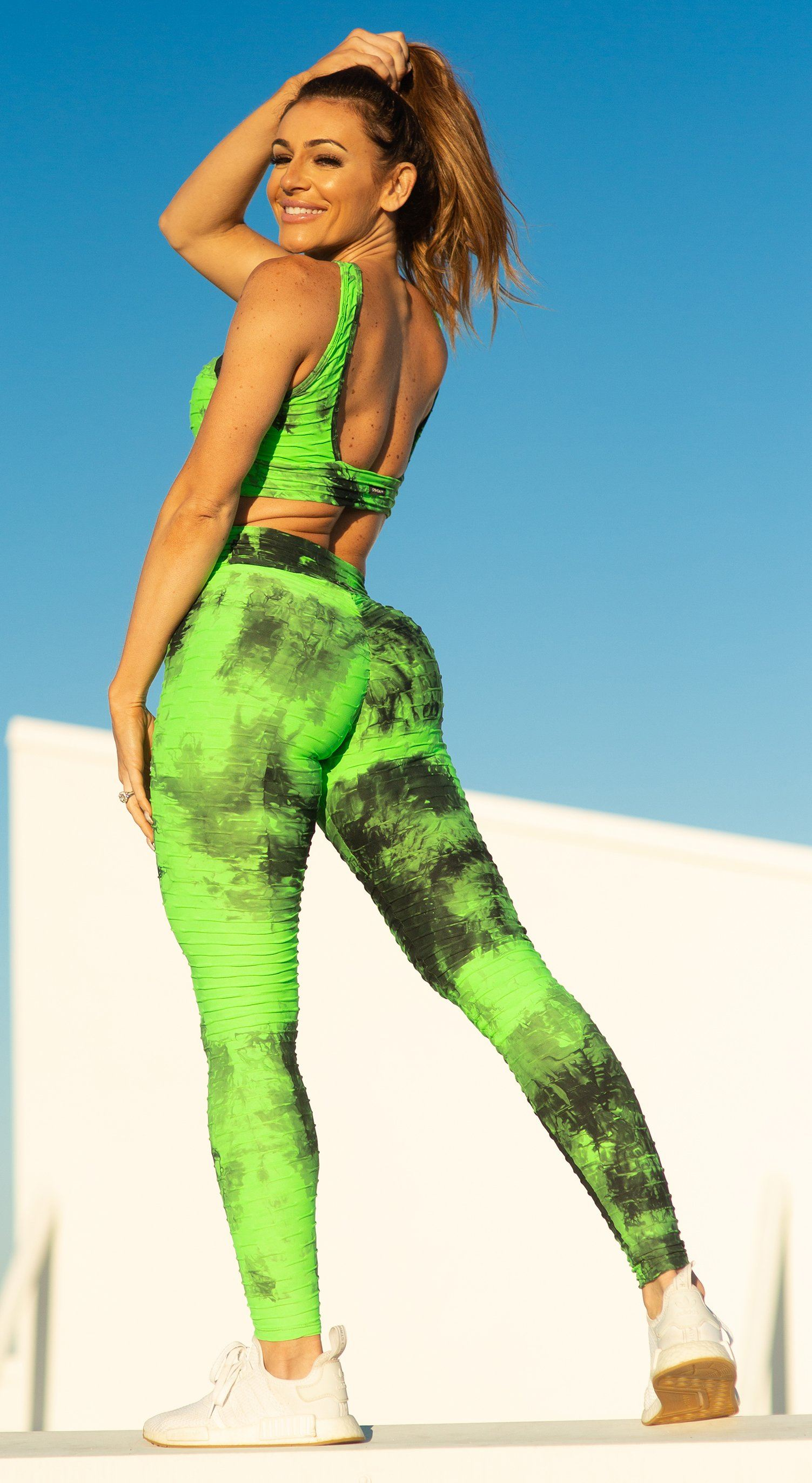 Brazilian Legging - High Waist Anti Cellulite Textured Scrunch Booty Tie Dye Green & Black