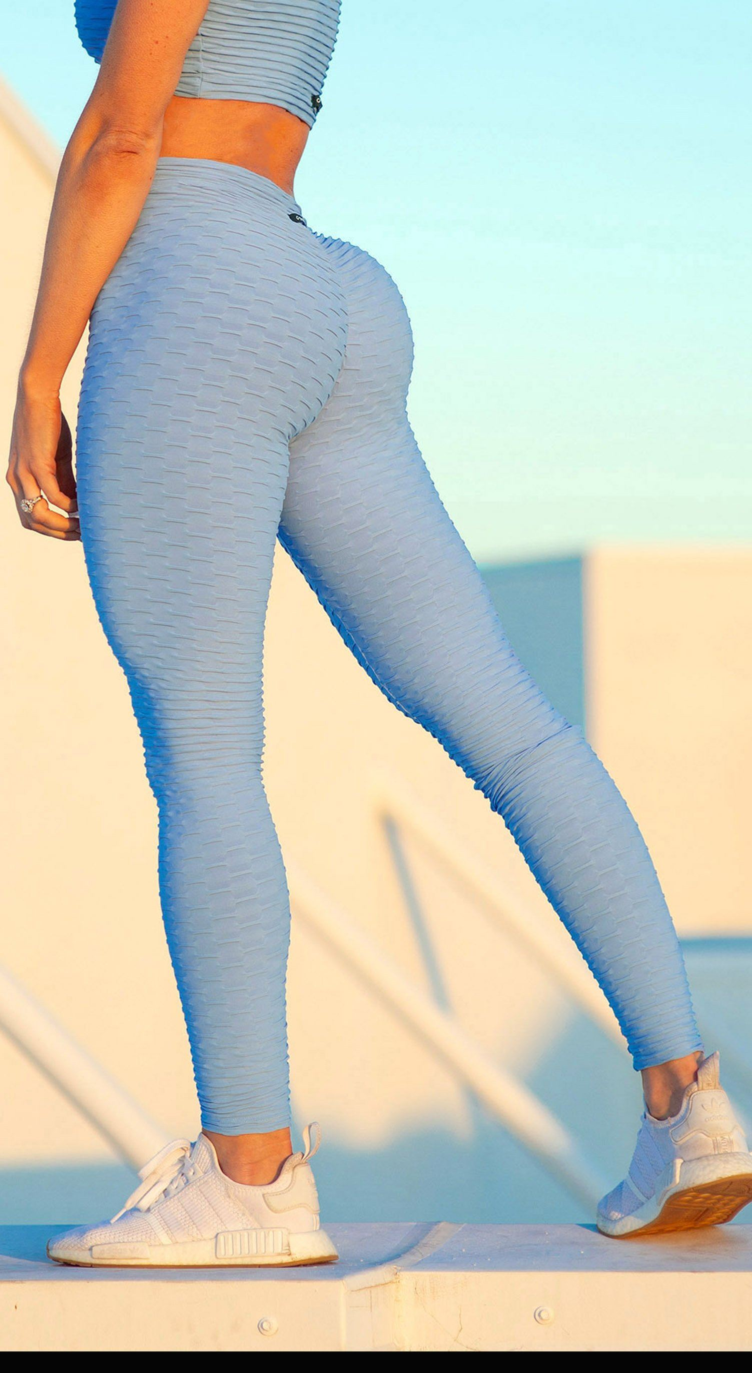 Brazilian Legging -  Anti Cellulite Honeycomb Textured Scrunch Booty Baby Blue