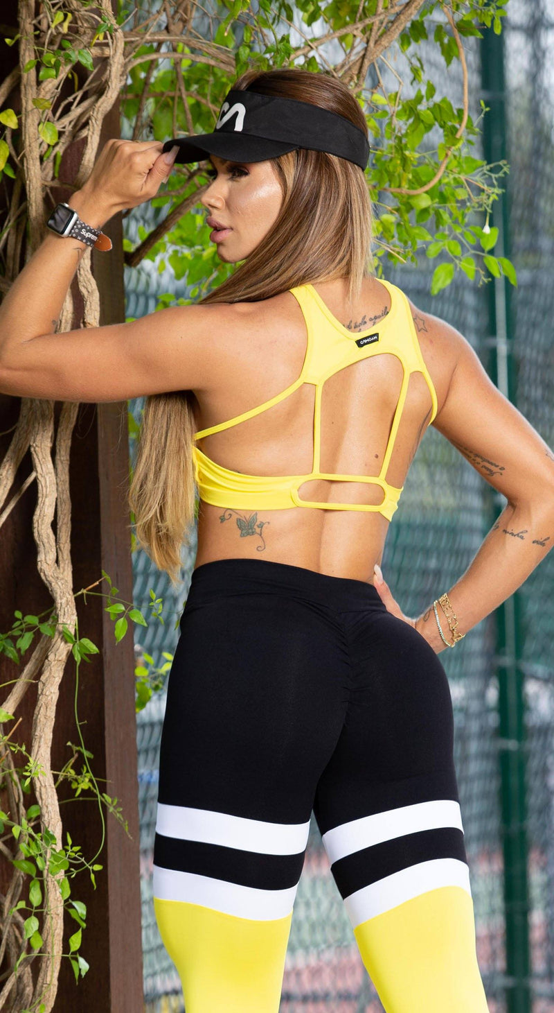 Brazilian Sports Bra - Cross Over Yellow