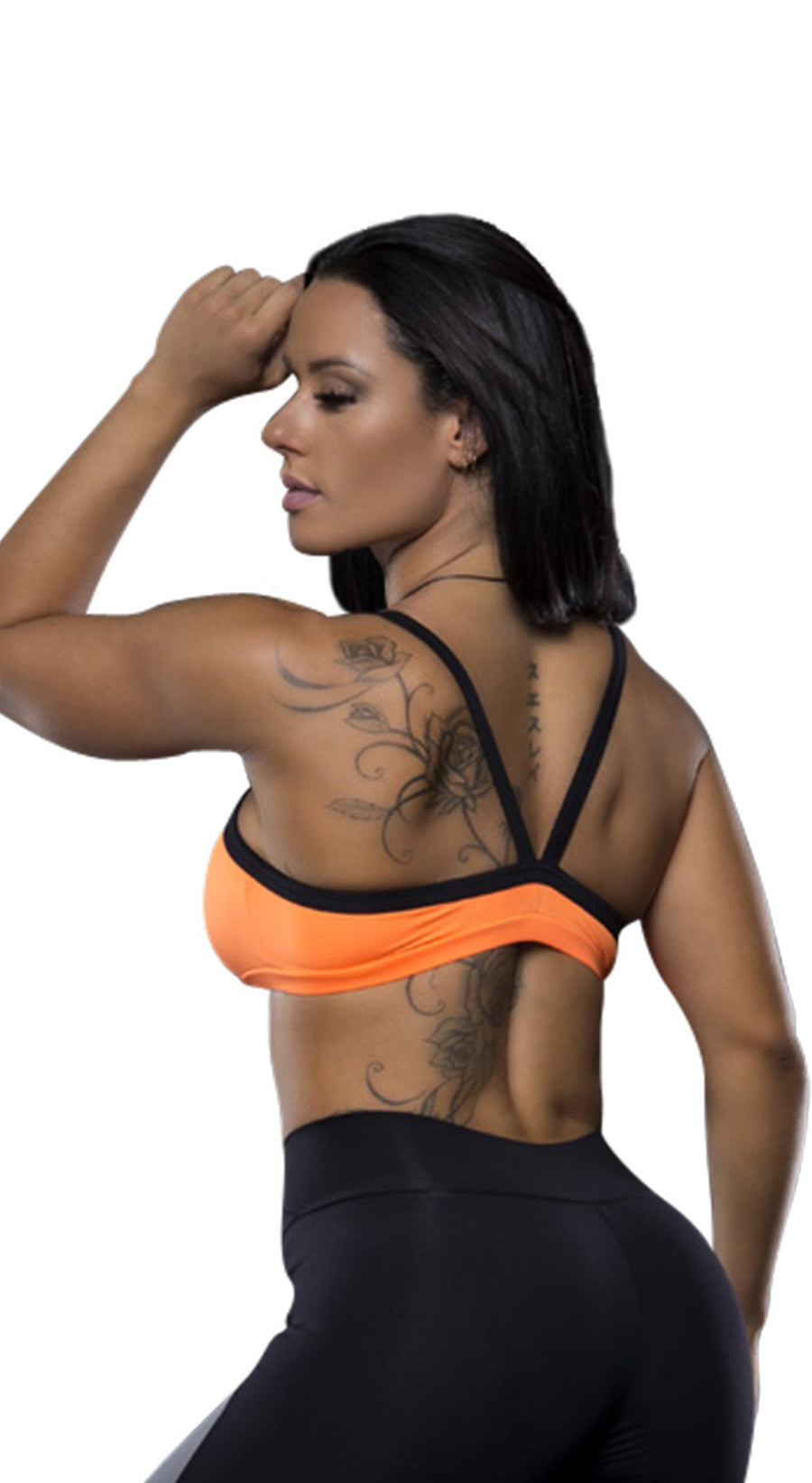 Orange Strappy Open Back Sport Bra