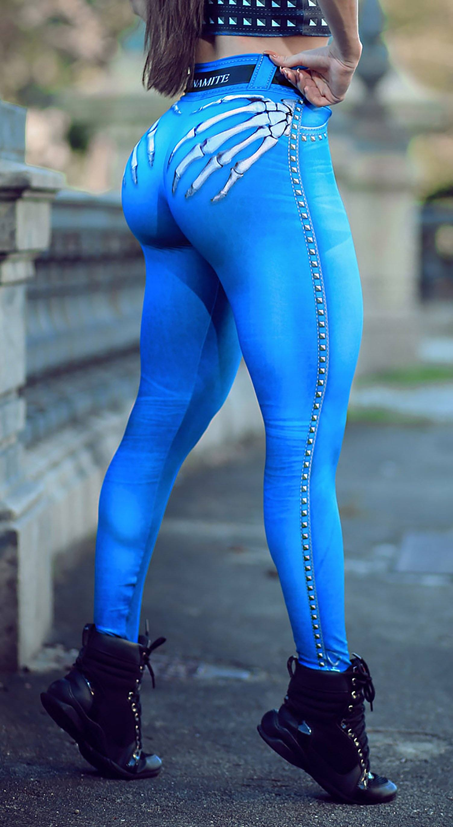 Brazilian Workout Legging -  Naughty Skeleton Blue