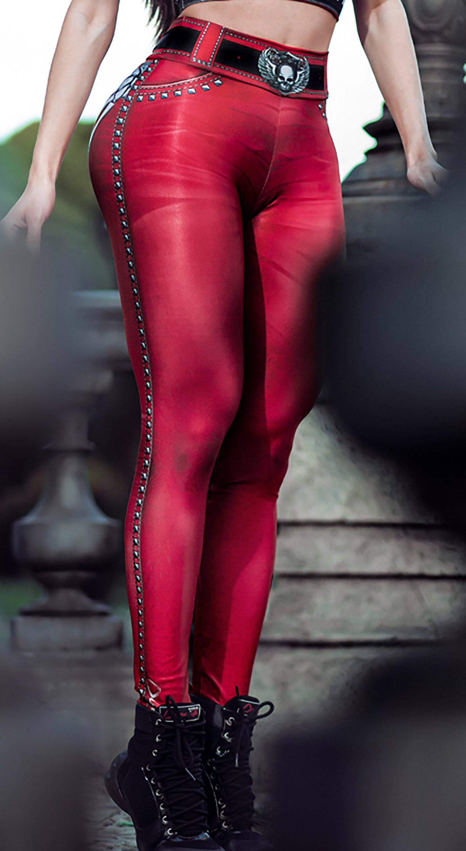 Brazilian Workout Legging -  Naughty Skeleton Red