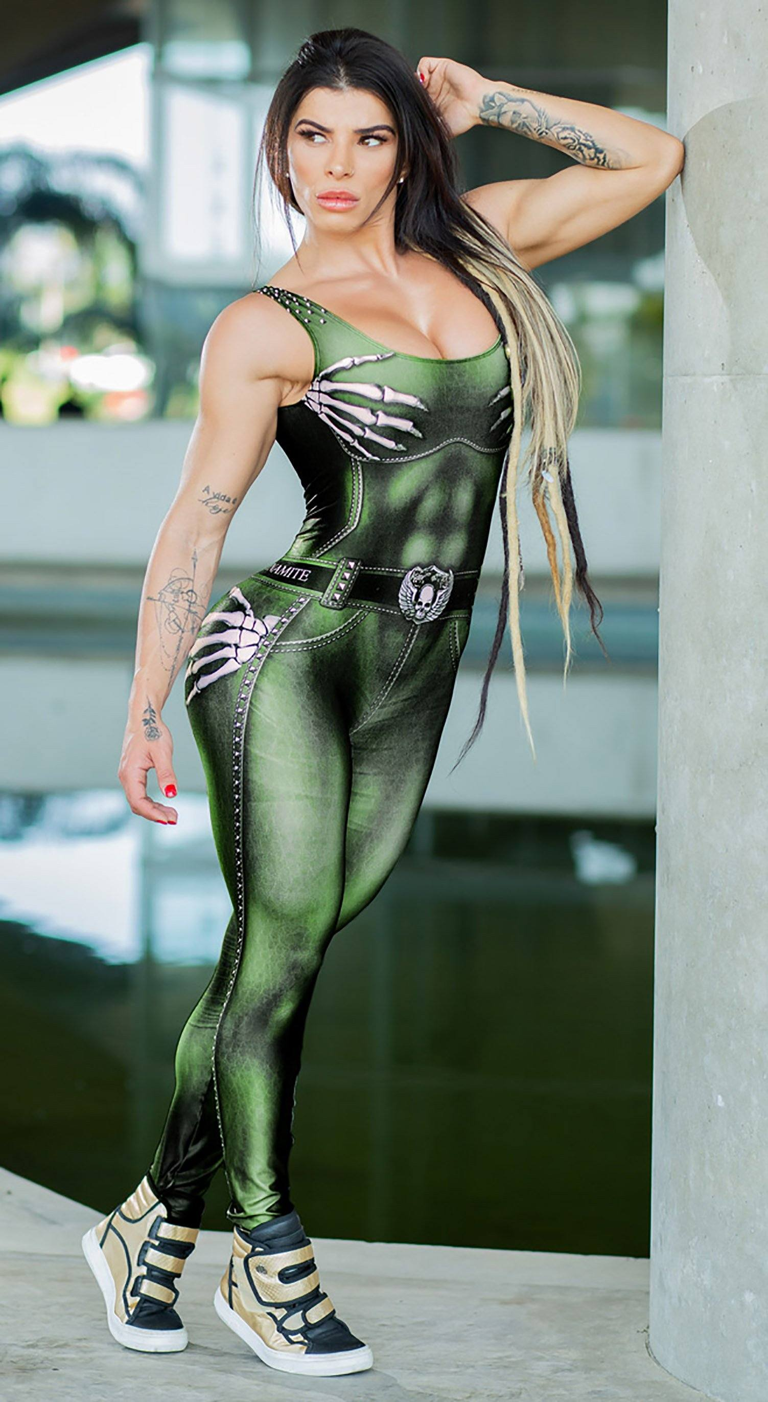 Brazilian Workout Jumpsuit  - Naughty Skeleton Olive