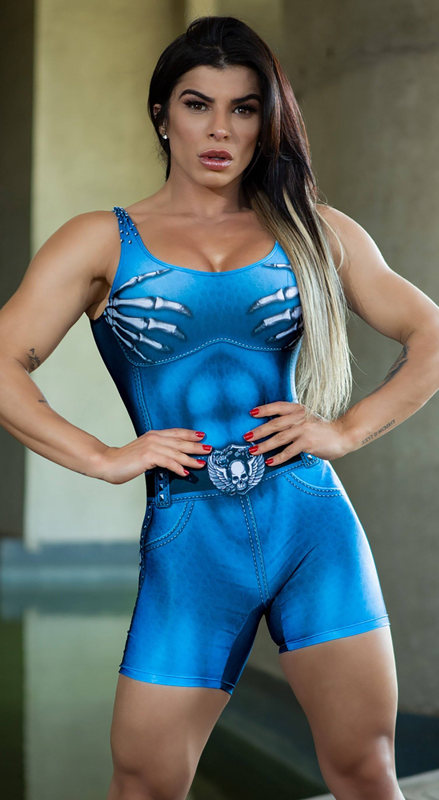 Brazilian Workout Jumpsuit Shorts -  Naughty Skeleton Blue