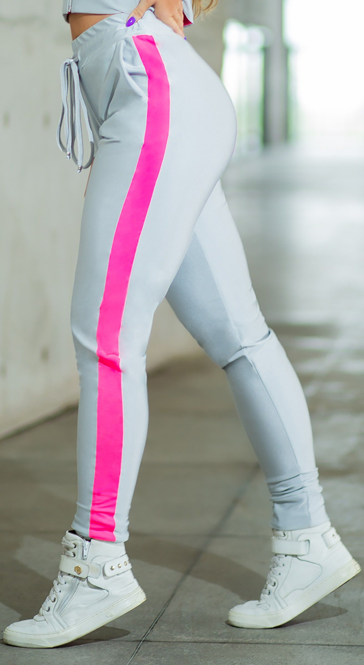 Brazilian Workout Legging - Wild Neon Urosi Gray
