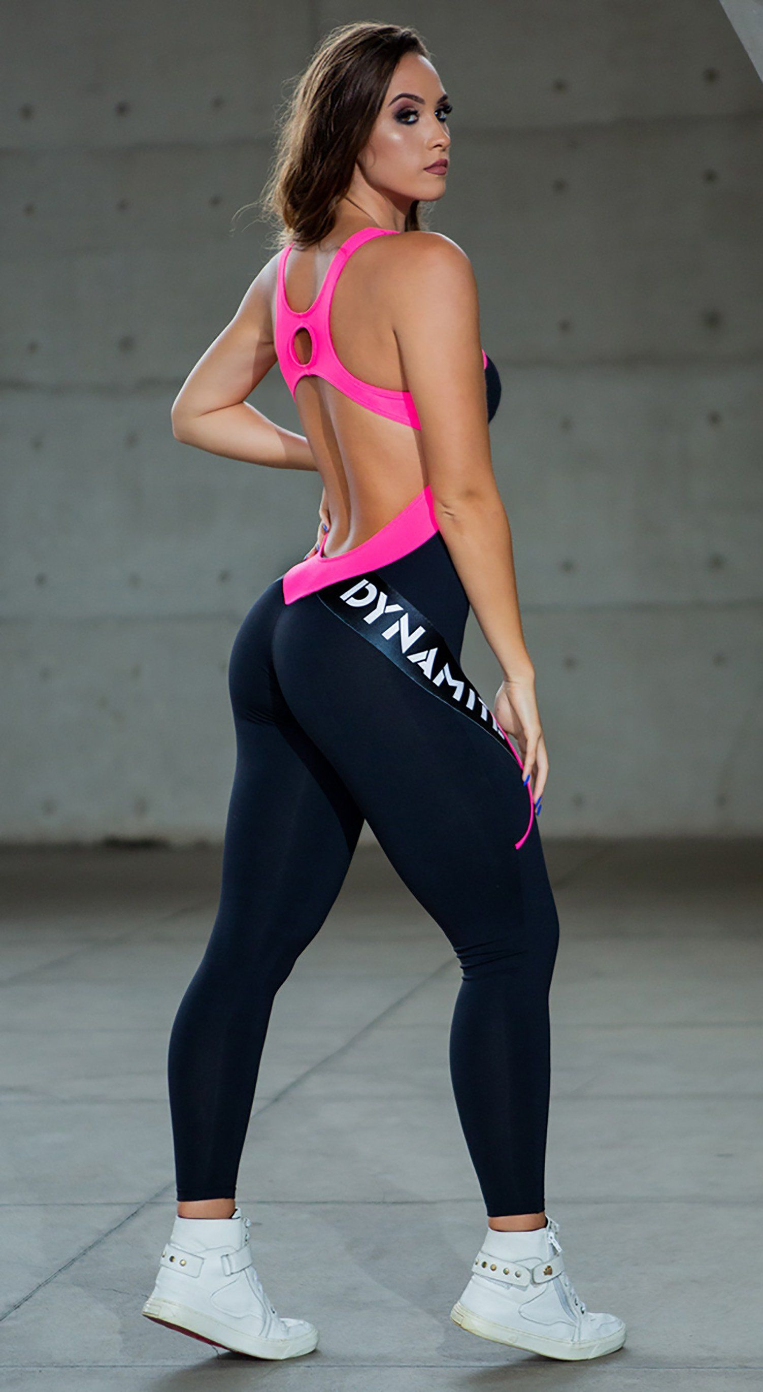 Brazilian Fitness Jumpsuit  - Wild Black Pink