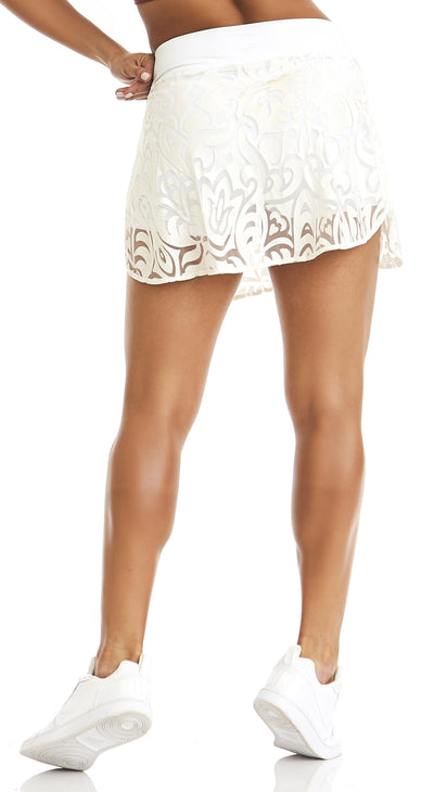 Brazilian workout Shorts Skirt - Kind White