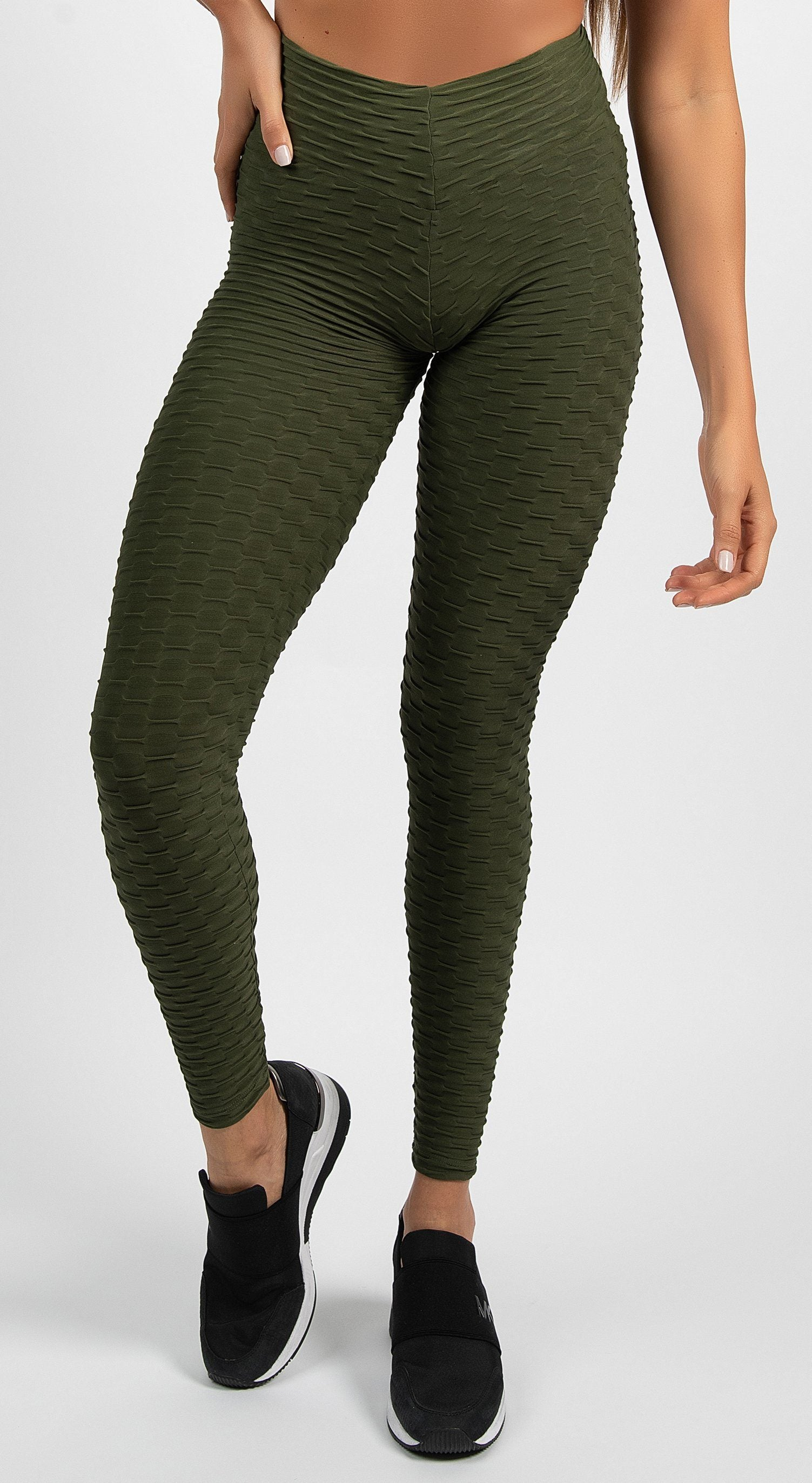 Brazilian Legging |  Anti Cellulite Honeycomb Textured Scrunch Booty Olive Green
