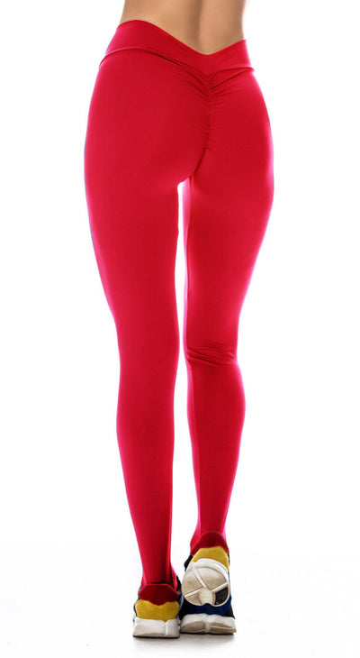 Brazilian Workout Legging - Scrunch Booty Lift! Hot Red