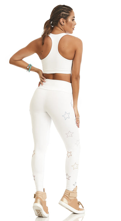 Brazilian Workout Leggings - NZ Stars Colorful White