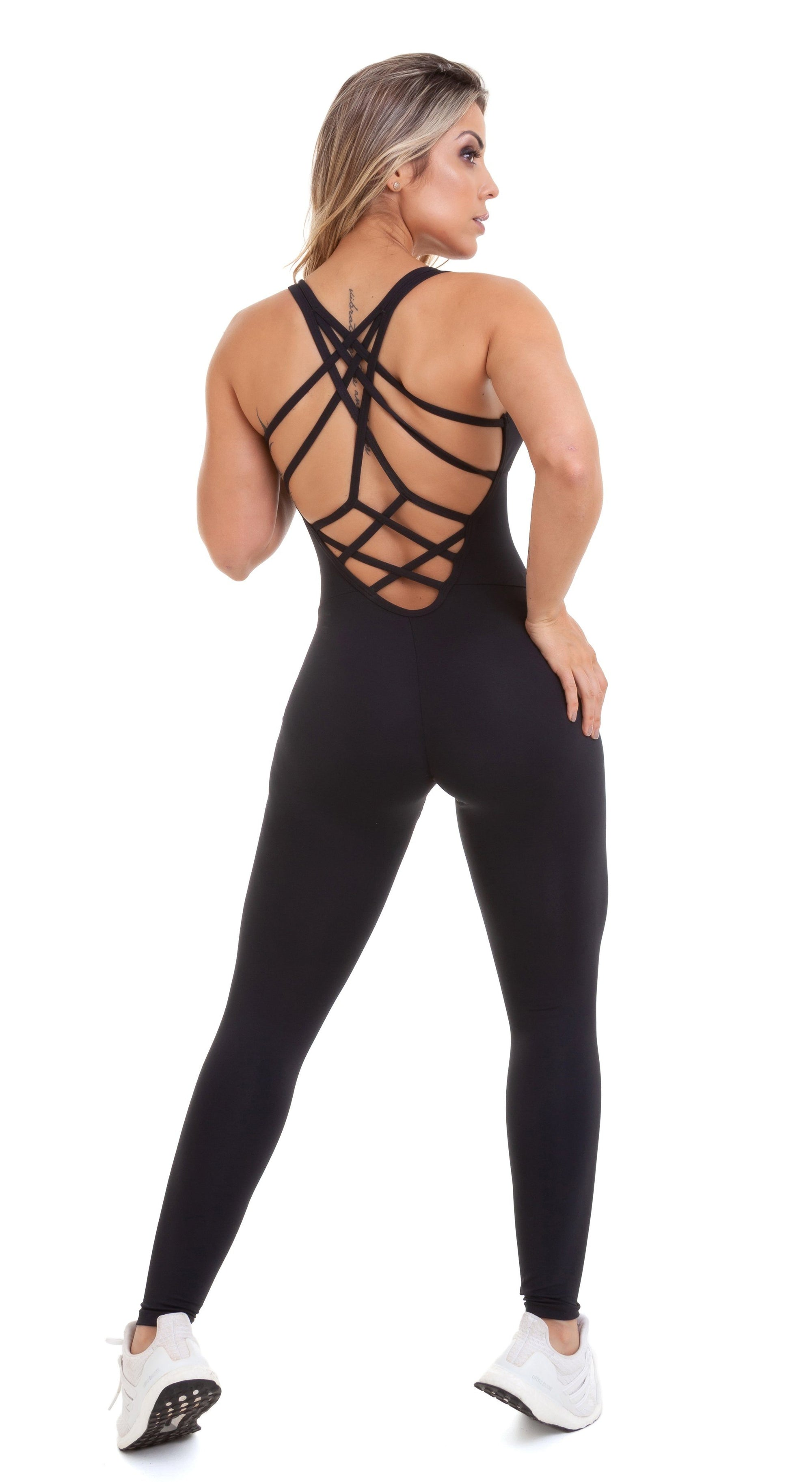 Brazilian Workout Jumpsuit - NZ Fit Goddess Black Bodysuit