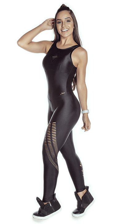 Brazilian Workout Jumpsuit - Atletika Power Laser Cut Black