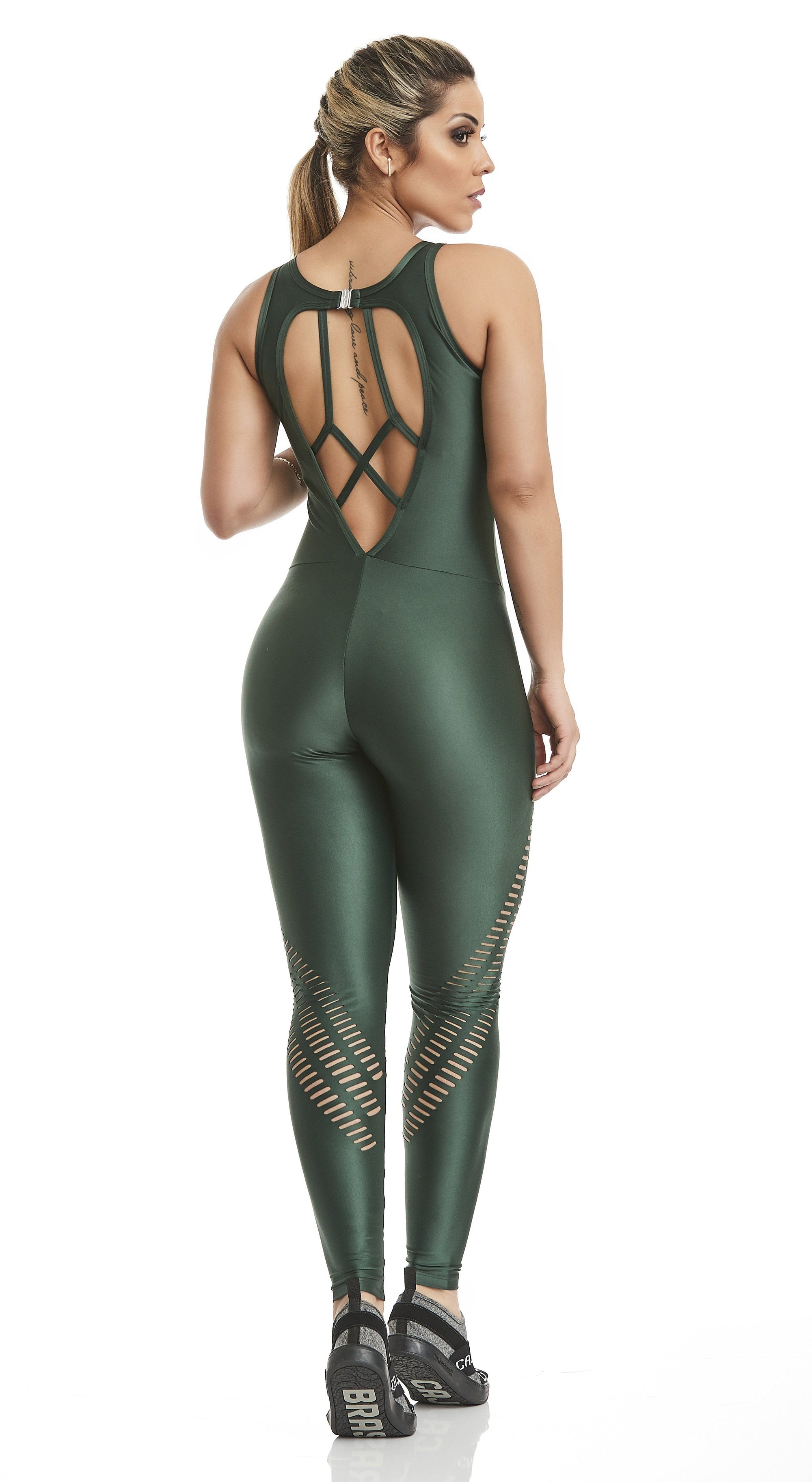 Brazilian Workout Jumpsuit - Atletika Power Laser Cut Green