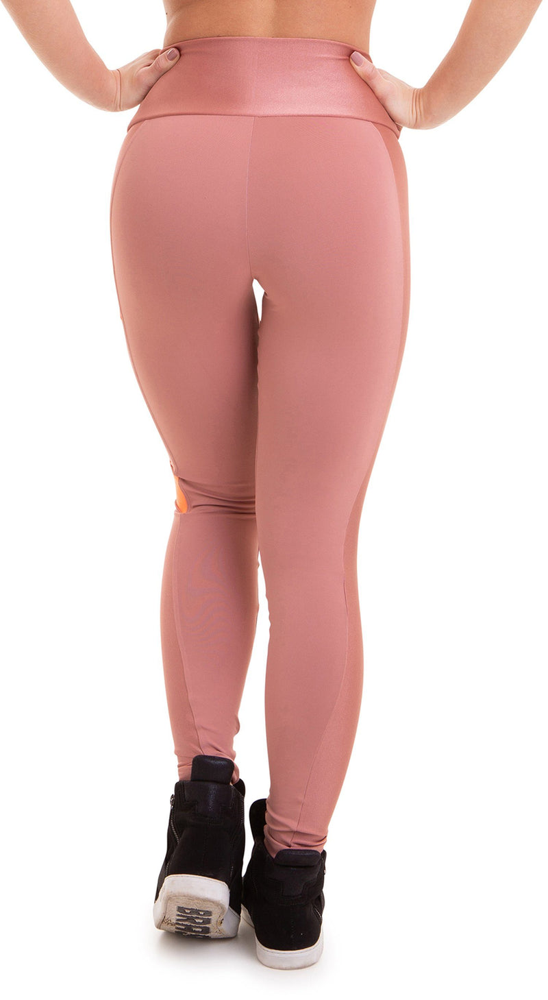 Brazilian Workout Legging - NZ Nude Pink and Neon Orange