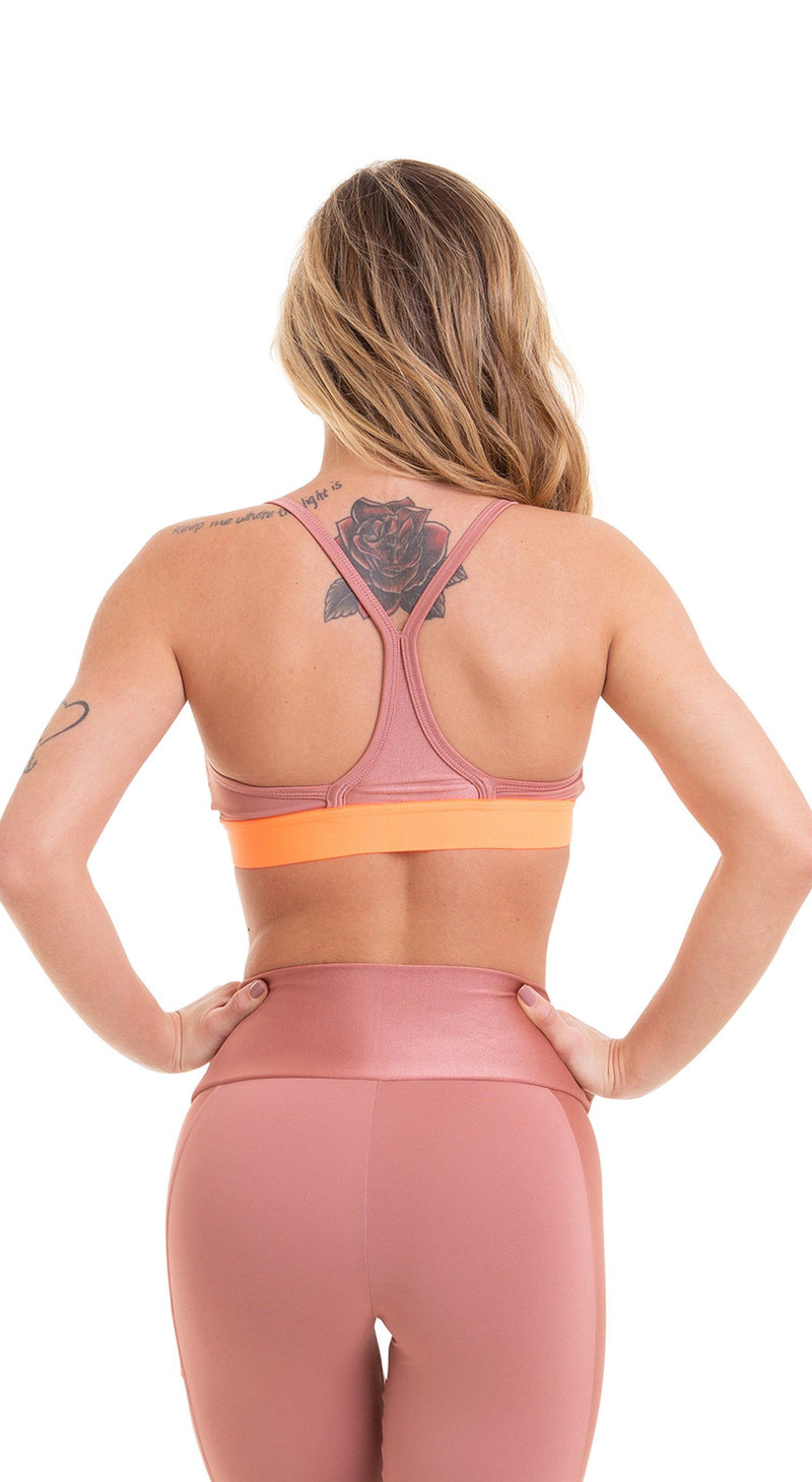 Sports Bra - Top NZ Nude Pink and Neon Orange
