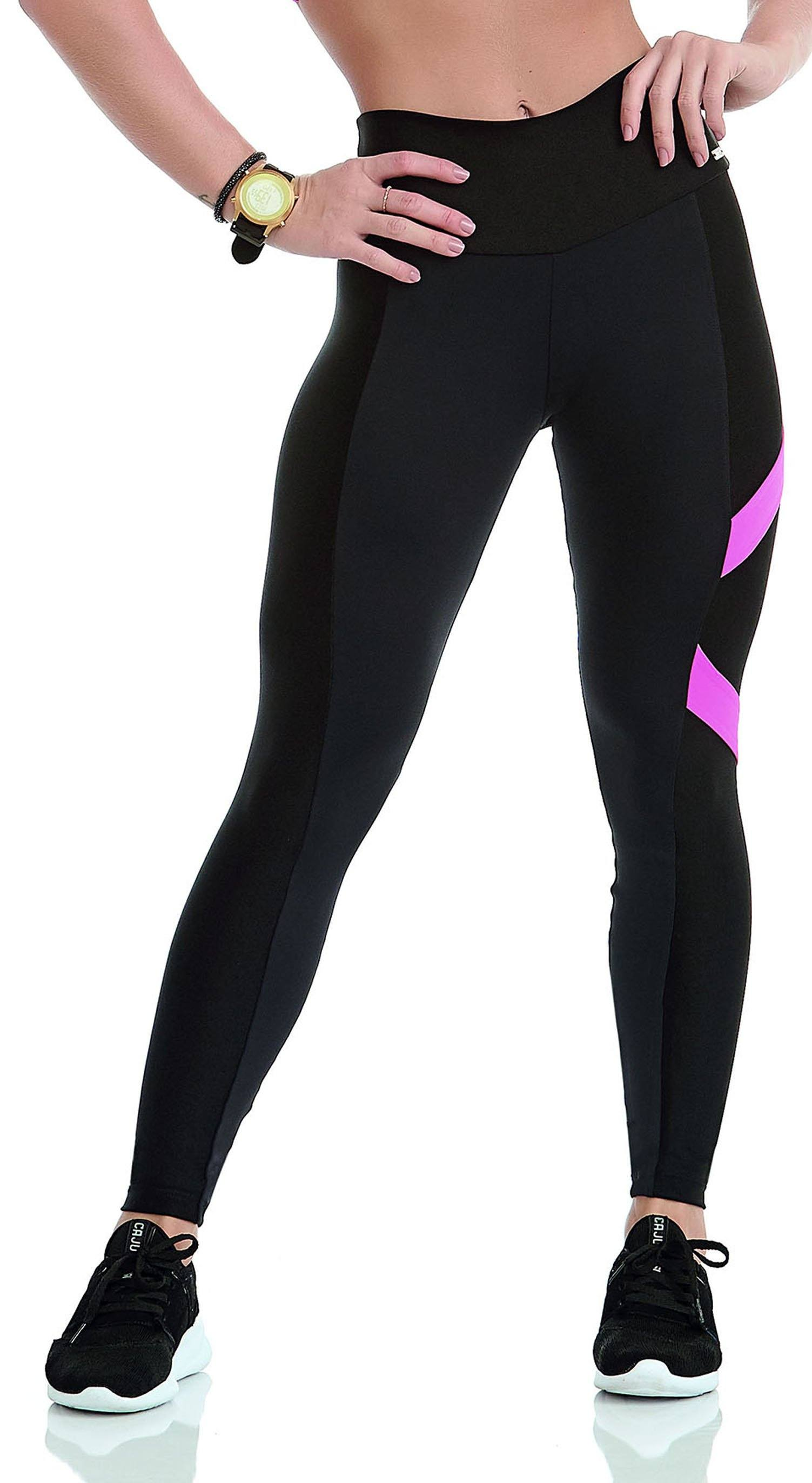 Brazilian Workout Legging - NZ Black and Neon Pink