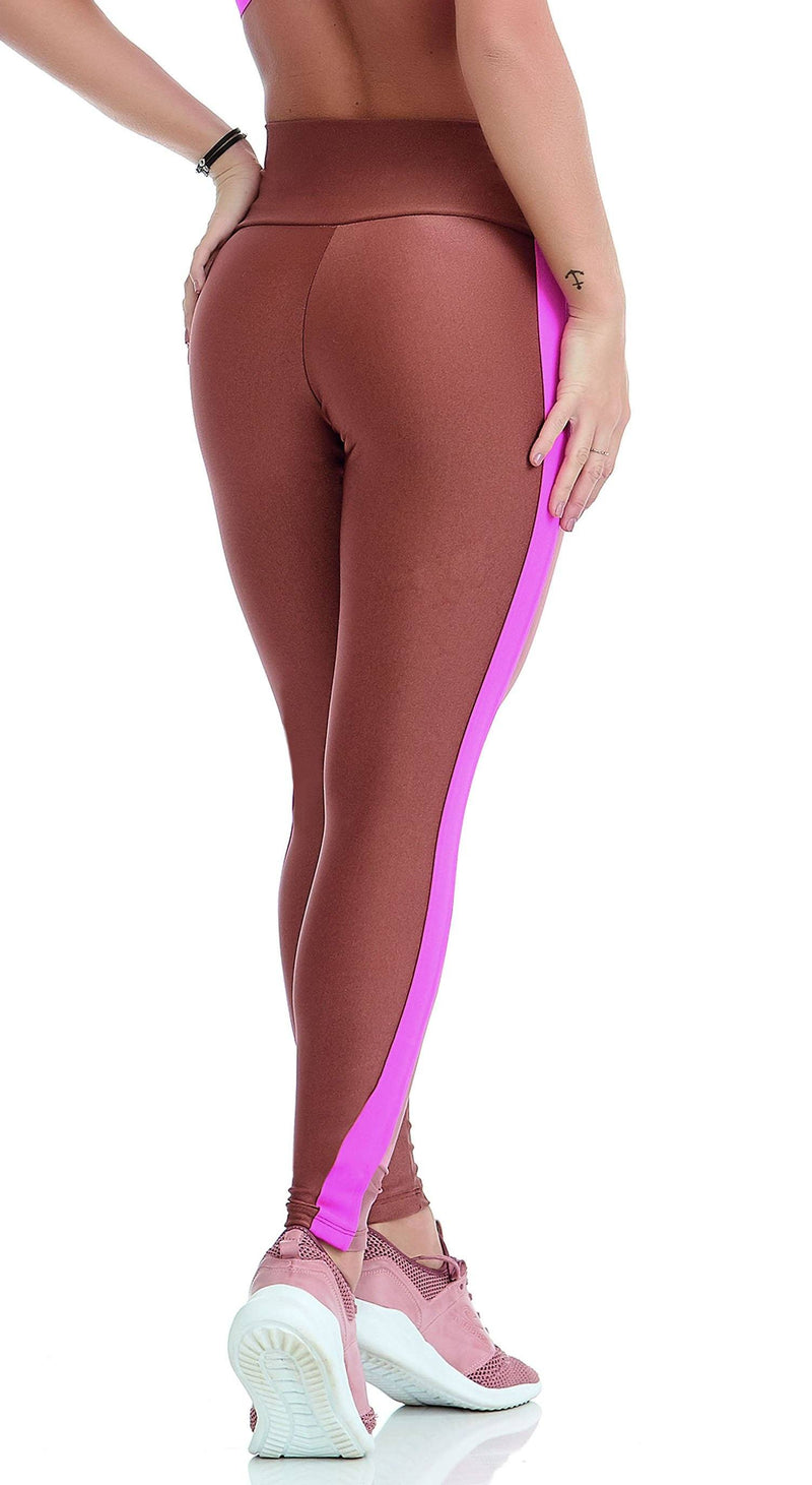 Brazilian Legging - Splendor Golden Brown & Neon Pink