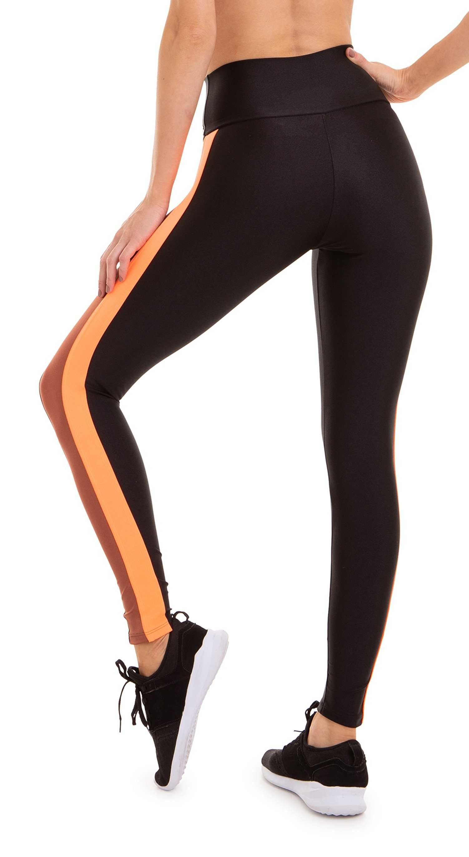 Brazilian Legging - Splendor Golden Brown/Black & Neon Orange