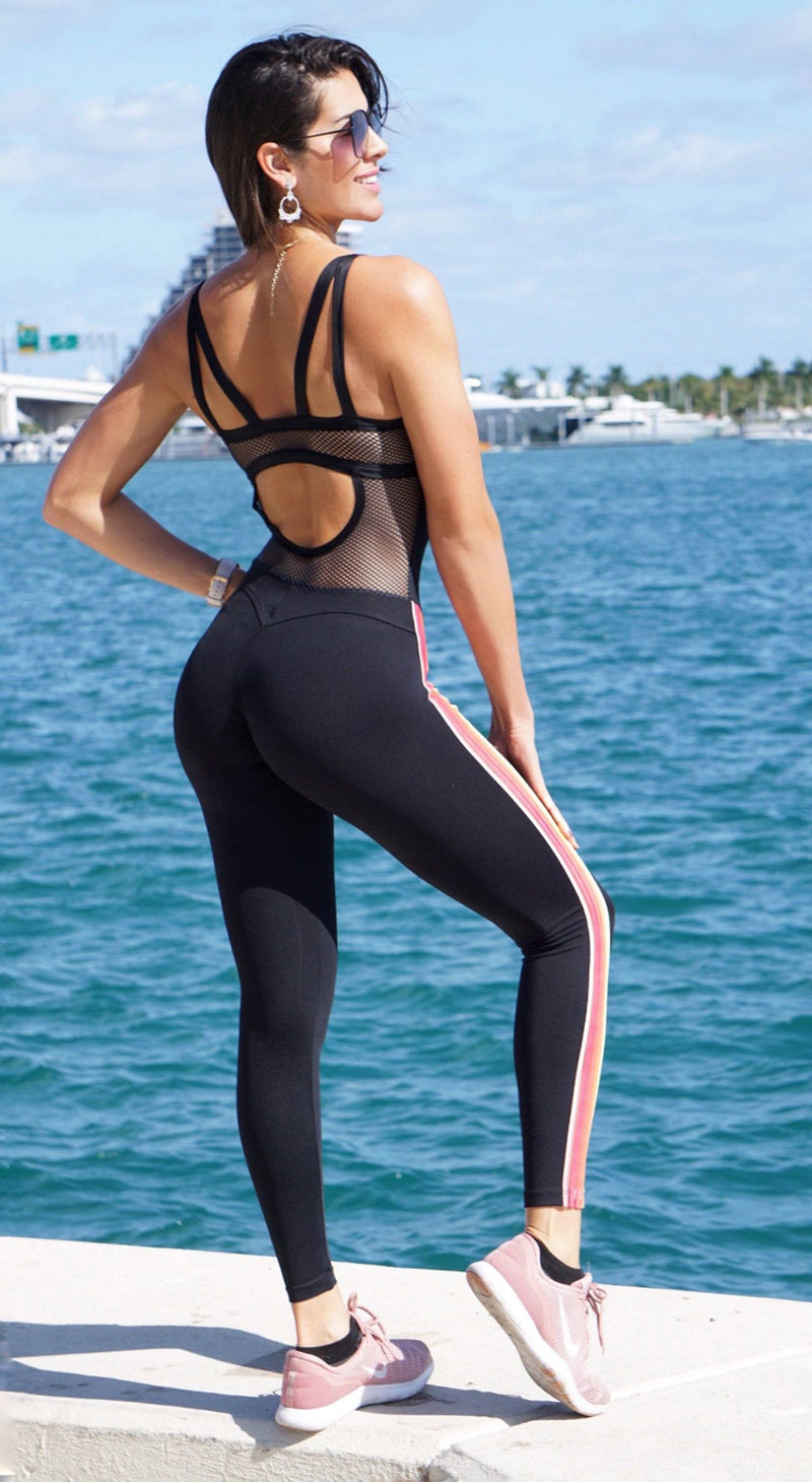 Brazilian Workout Jumpsuit - NZ Fancy One Piece Black