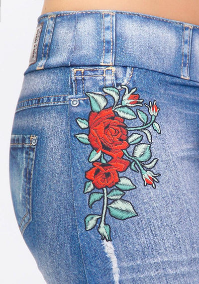 Short Skirt Bloom Print Jeans Blue