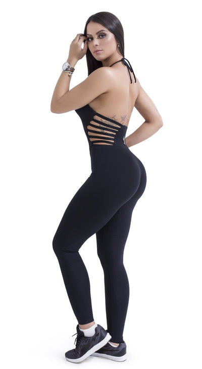 Brazilian Workout Jumpsuit -  Strappy Black