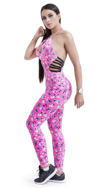 Brazilian Workout Jumpsuit -  Strappy Pink Skulls Print