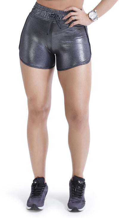 Workout Shorts - Silver Shine