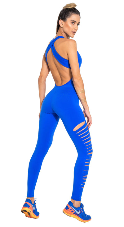 Brazilian Workout Jumpsuit  - Ripped Heroine Royal Blue