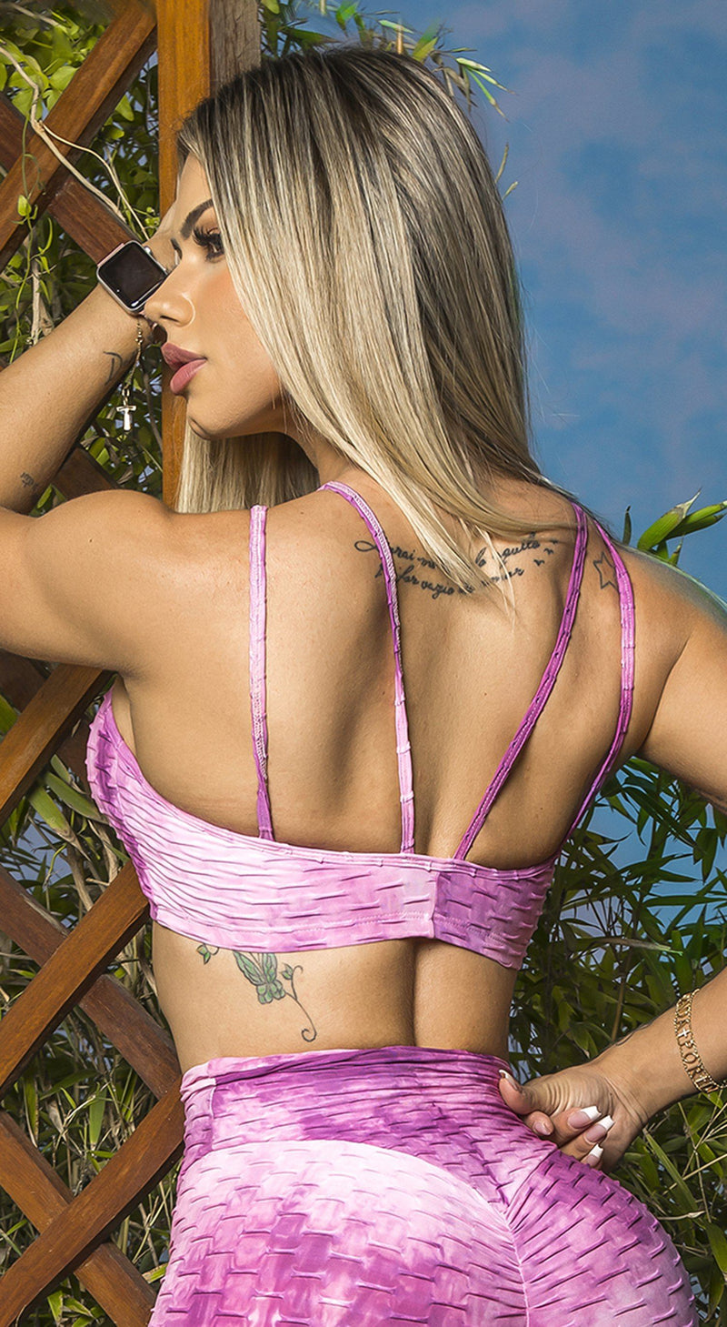 Brazilian Sports Bra - Textured Tie Dye Pink & White