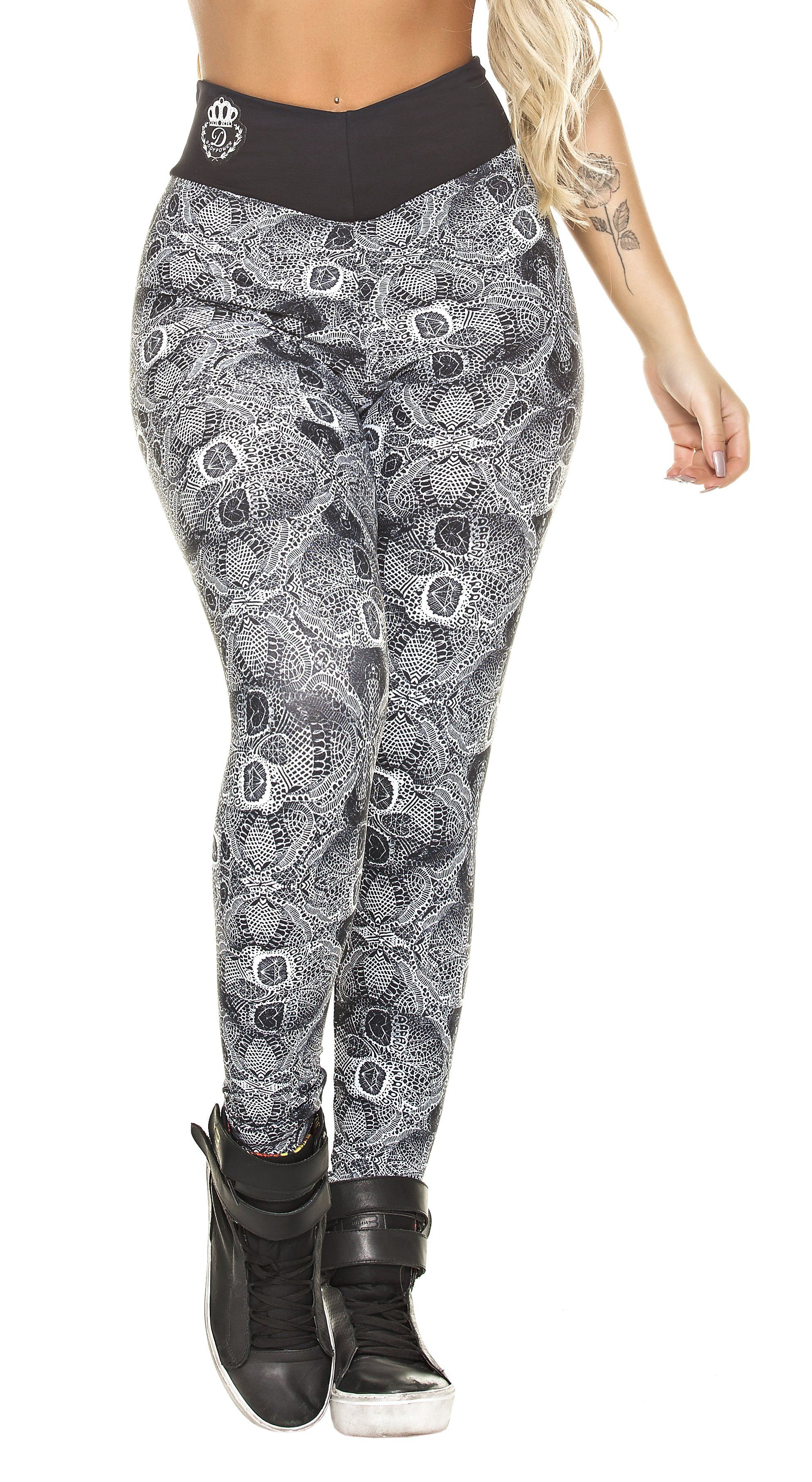 Brazilian Workout Leggings - High Waist Modern Print