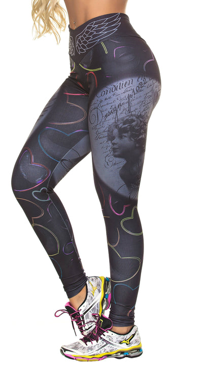 Brazilian Workout Legging - High Waist Cupid Print