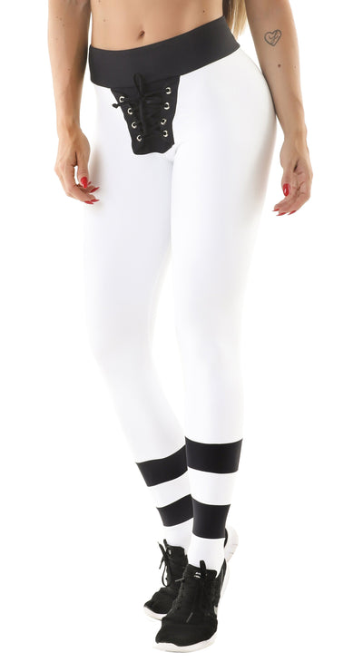 Workout Legging - Tie Drift Legging Black & White