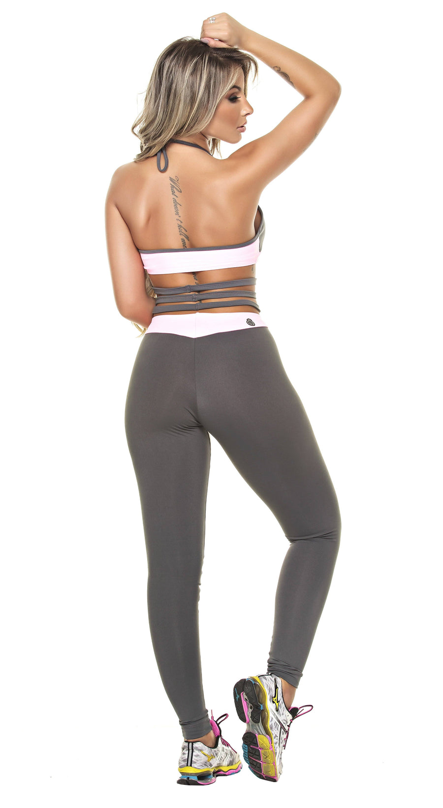 Brazilian Workout Jumpsuit - Leblon Strappy Gray & Pink