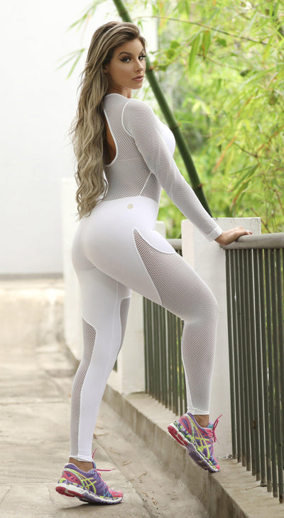 Brazilian Workout Jumpsuit - Spot White