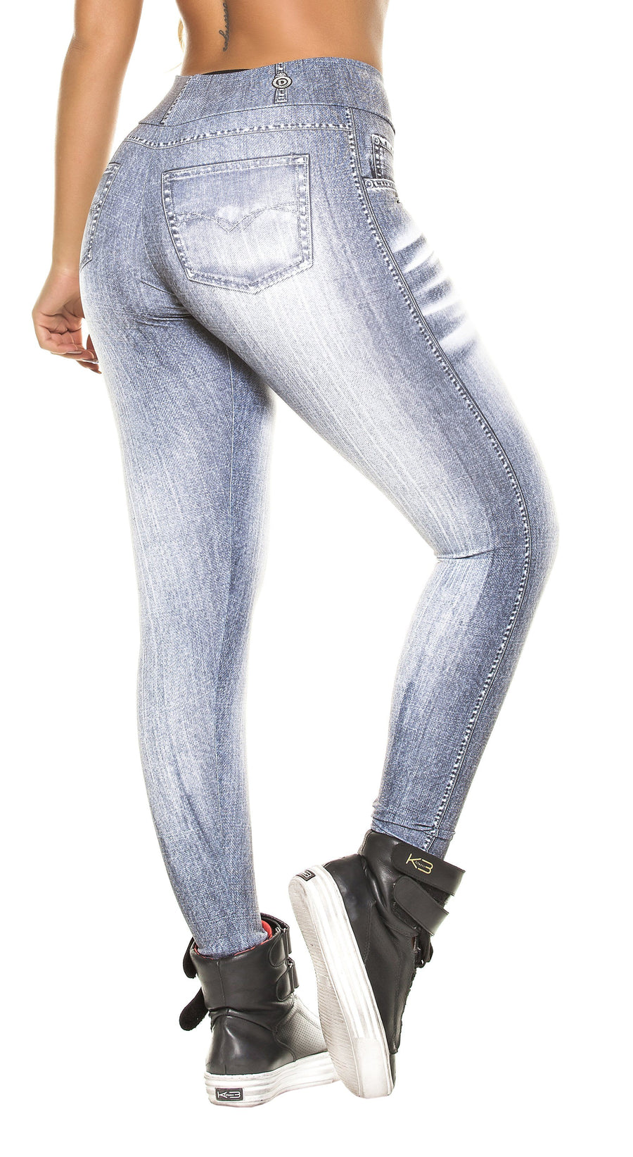 Brazilian Legging - Fake Jeans Light  Grey Legging
