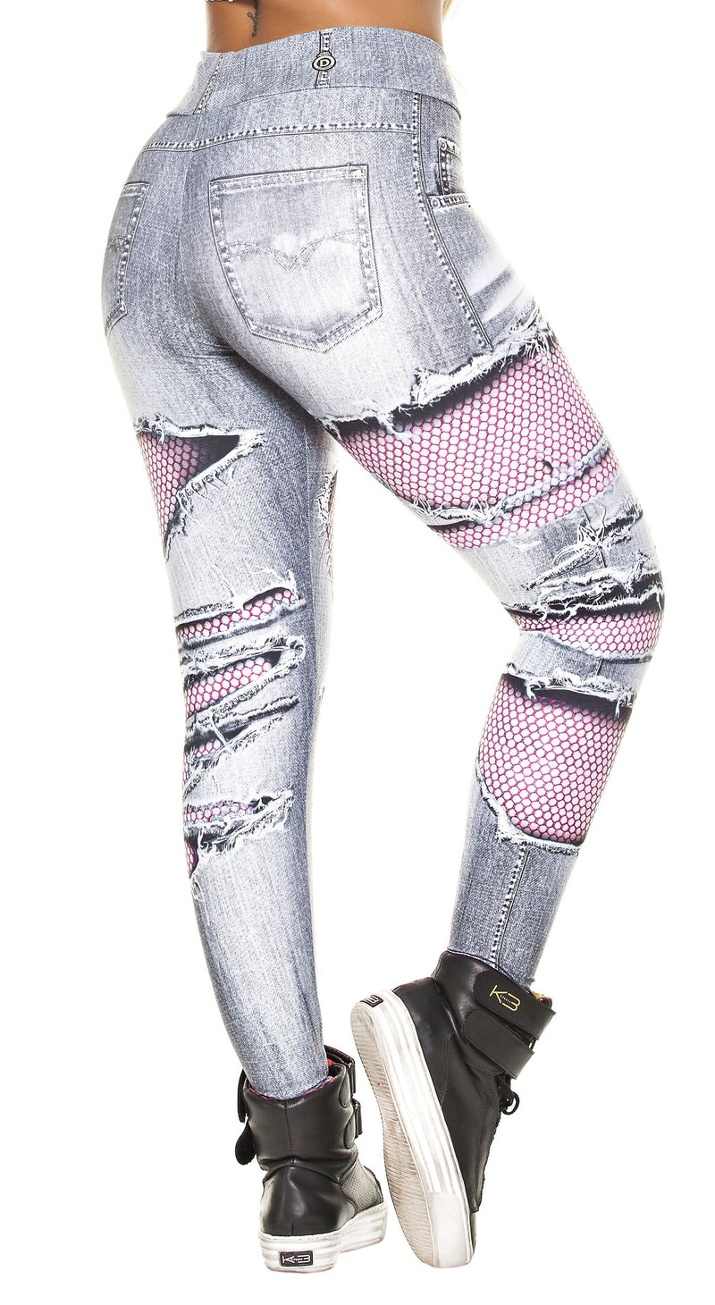 Workout Fake Jeans Legging - Mesh Ripped Fake Jeans Grey