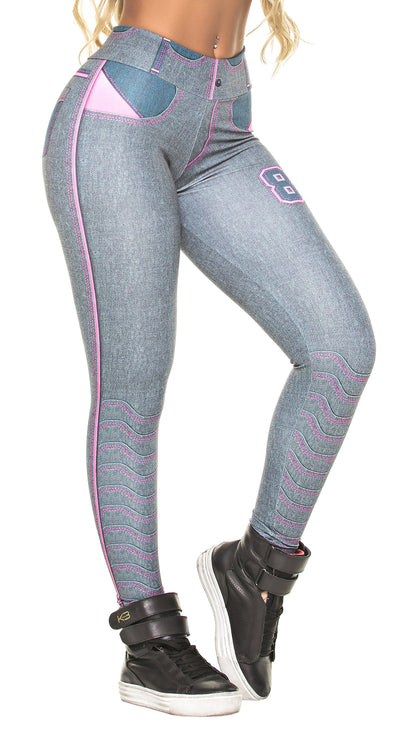 Brazilian Legging - Fake Jeans Grey & Pink