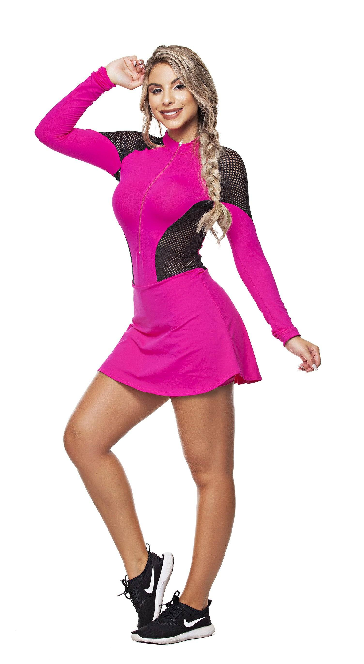 Cycling Jumpsuit - Triathlon Tri Suit Skirt Overlay Pink & Black