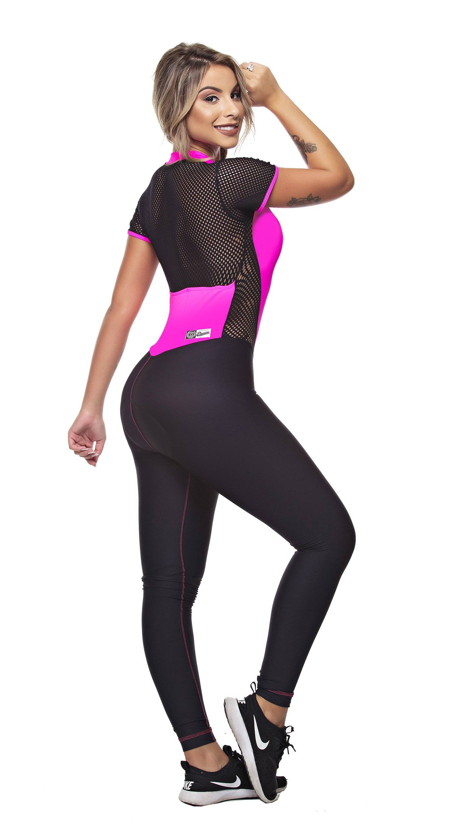 Biker Jumpsuit - City Bike Pink & Black