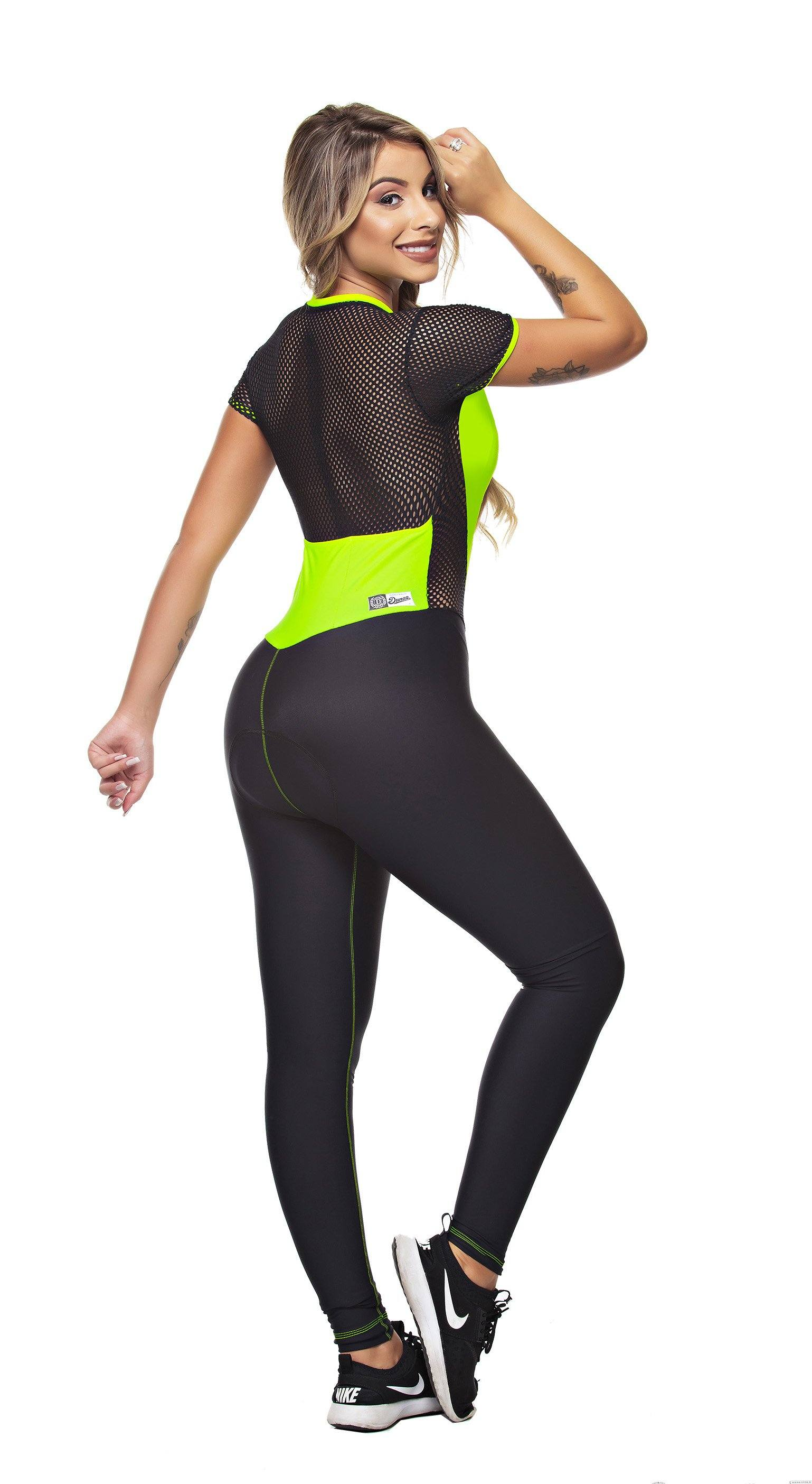 Biker Jumpsuit - Triathlon Mesh Black & Neon Yellow