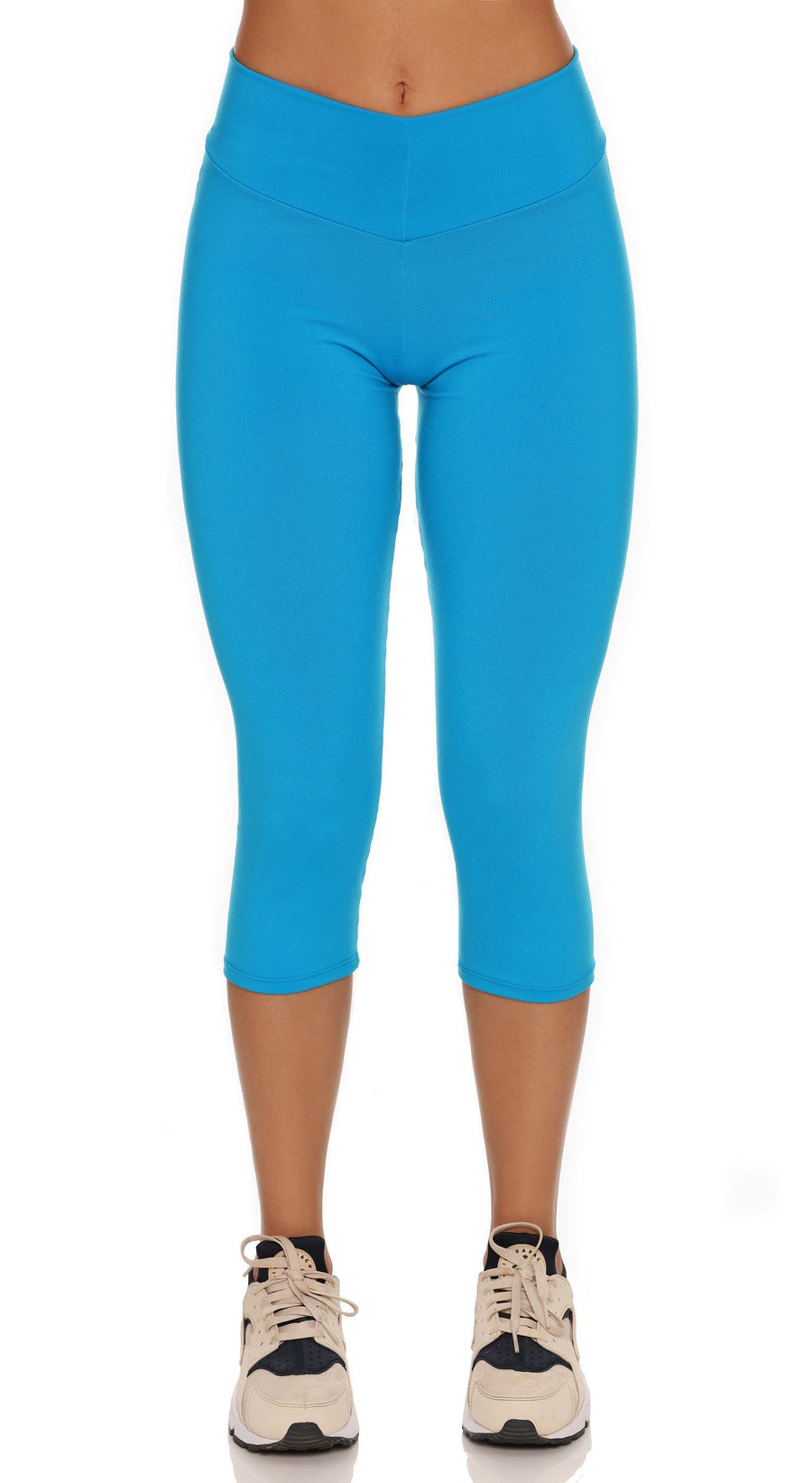 Brazilian Workout Capri Pants - Scrunch Booty Lift! Compression Deep Sky Blue