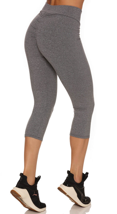 Brazilian Workout Capri Pants - Scrunch Booty Lift! Compression Gray