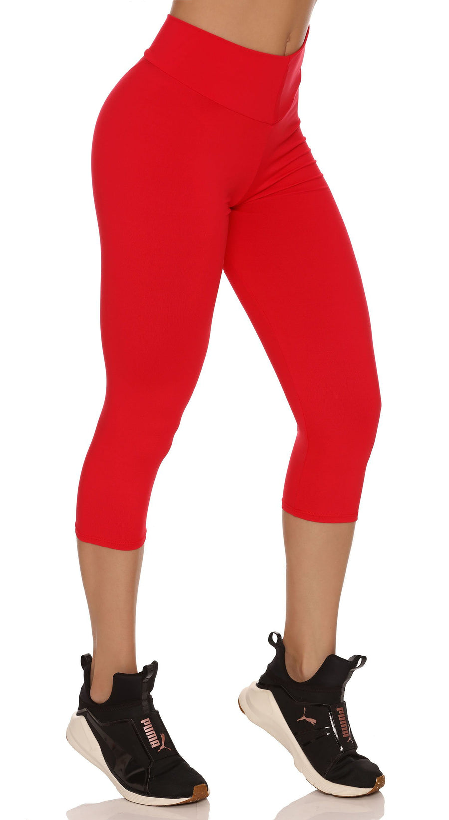 Brazilian Workout Capri Pants - Scrunch Booty Lift! Hot Red