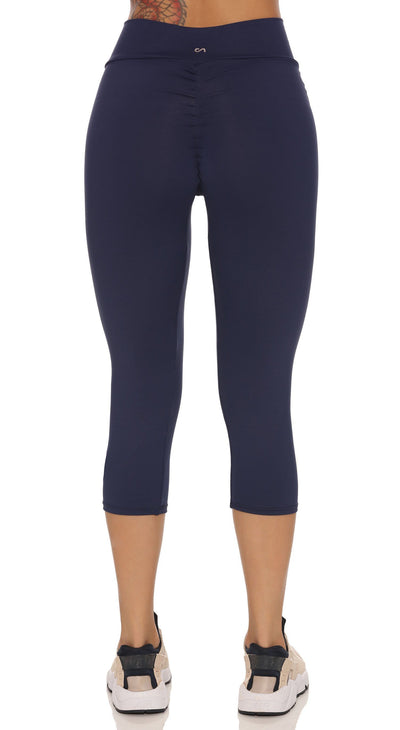 Brazilian Workout Capri Pants - Scrunch Booty Lift! Compression Navy