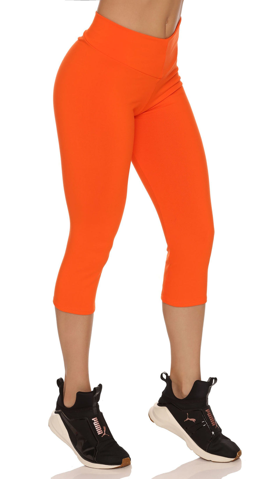 Brazilian Workout Capri Pants - Scrunch Booty Lift! Compression Orange