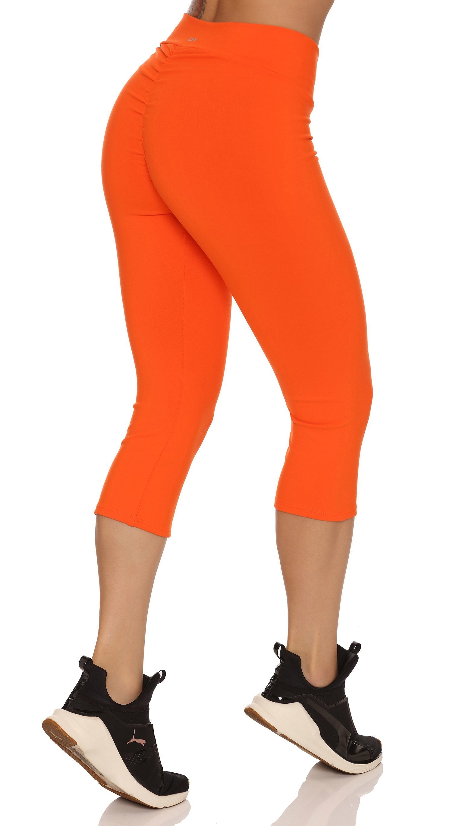 85fea85e6b25a Canoan - Brazilian Workout Capri Pants - Scrunch Booty Lift! Compression  Orange