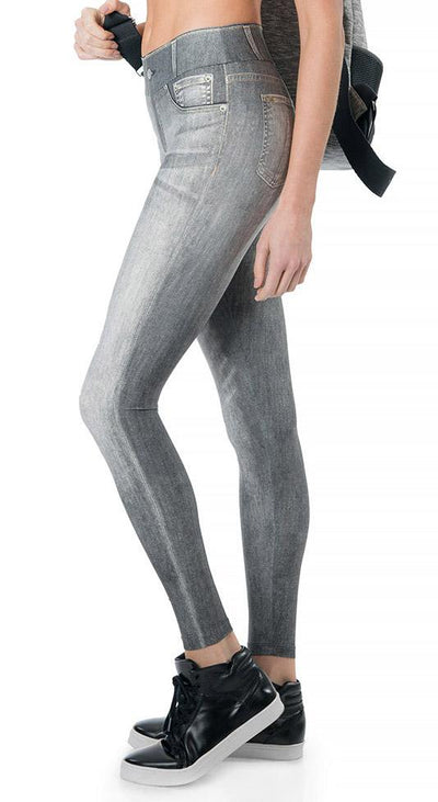 Brazilian Fake Jean Legging - Cool Jeans Tight Gray